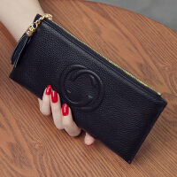 新款韩版女士钱包长款皮夹女式皮拉链大钞夹简约潮