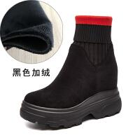 2018秋季新款厚底短靴马丁靴百搭内增高跟坡跟靴子女鞋冬中筒单靴SN3025 黑色 加绒