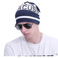 个性包头帽字母潮流韩版休闲棉质毛线帽男针织布帽子女双面套头帽