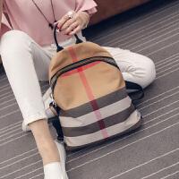 2018新款女包韩版时尚休闲双肩包牛皮帆布包配皮旅行包大书包潮