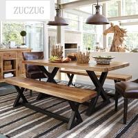 ZUCZUG实木餐桌椅组合饭店长条桌美式复古铁艺咖啡馆桌公司客厅泡茶桌子