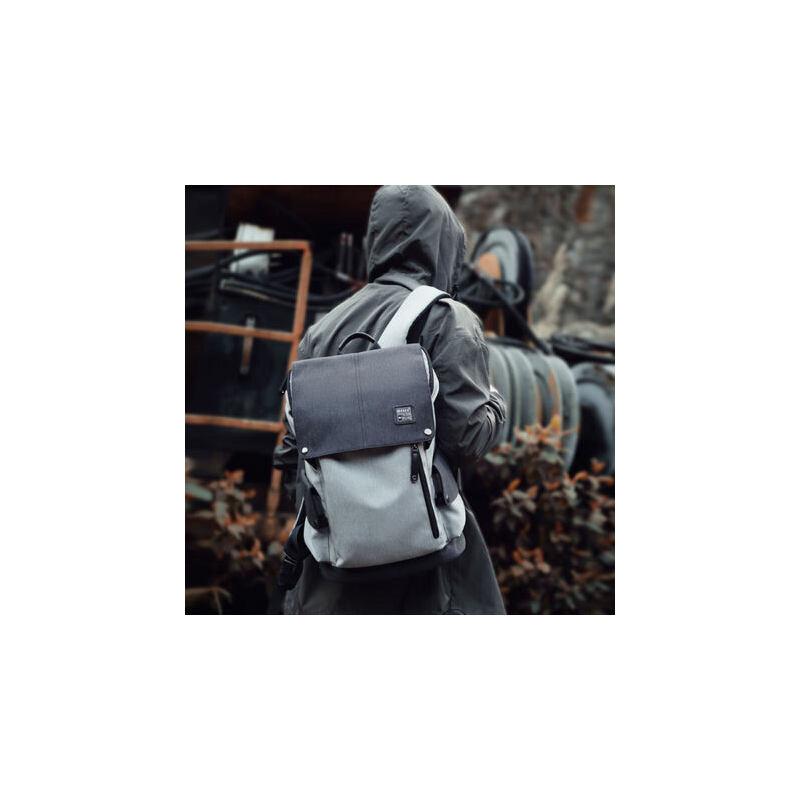 韩版青年大学生帆布双肩包男时尚潮流高中学生书包休闲旅行背包男 双重 防盗 书包季 背包