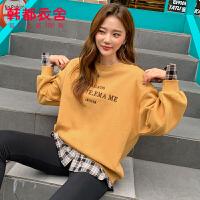 韩都衣舍2019秋装新款女装韩版刺绣宽松假两件加绒卫衣OU12892��