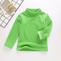 儿童秋冬新款女童加绒加厚休闲长袖打底衫男童洋气保暖半高领T恤 浅绿色 07560