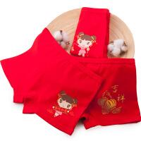 儿童本命年内裤平角女孩大红色属猪12-15岁男童女童全棉短裤