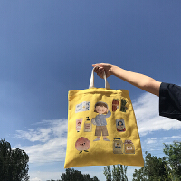 单肩手提书包 限量款唐糖包袋xChara合作插画款帆布包