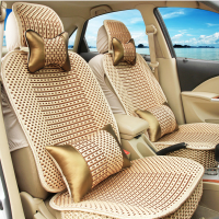 汽车坐垫手编冰丝坐垫四季凉垫亚麻座垫编织座垫四季通用车饰