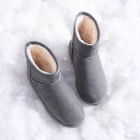 雪地靴女冬加绒新款中筒加厚平底百搭厚底学生韩版一脚蹬棉鞋