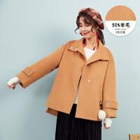 【1件3折到手价:205.8】美特斯邦威毛呢大衣女短款甜美韩版冬装新款呢外套潮商场款