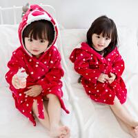 冬季新品韩版童装珊瑚绒加厚圆点麋鹿亲子童浴袍女童儿童睡衣睡袍