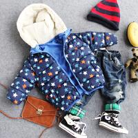 儿童两面穿连帽棉衣冬款男童包包五角星手塞棉外套袄子潮