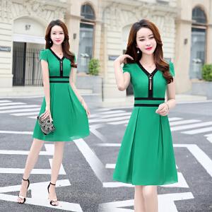 雪纺连衣裙女装夏季2018新款韩版修身气质显瘦v领短袖收腰淑女裙