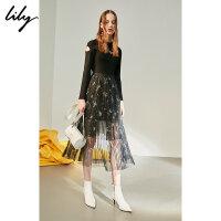 Lily春新款女装拼接镂空刺绣连衣裙118340B7703