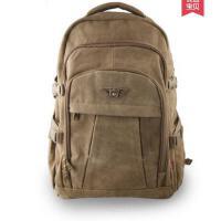帆布双肩背包简约大容量出差旅行旅游包学生书包登山包男女户外