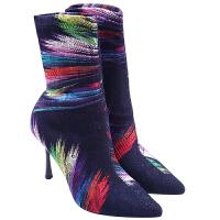 2018秋冬新款欧美性感豹纹弹力袜女靴时尚显瘦高跟细跟尖头中筒靴