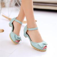 新款儿童蝴蝶结凉鞋韩版女孩白色小高跟舞蹈鞋学生主持礼服演出鞋