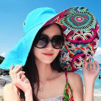帽子女 夏天韩版太阳帽折叠草帽沙滩帽女大沿防晒遮阳帽