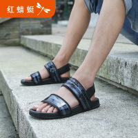 红蜻蜓潮流皮凉鞋男新款正品真皮休闲软底亮皮沙滩鞋男鞋