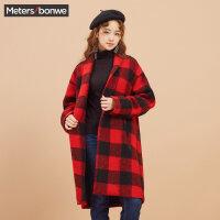 美特斯邦威冬装新款复古格子呢子大衣女长款休闲韩版商场款