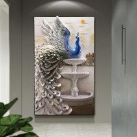 家居生活用品玄关装饰画现代简约3D立体浮雕竖版大气走廊过道孔雀入户进门墙画 82*134