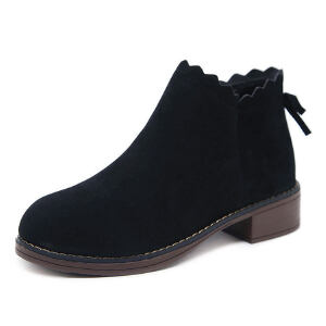 WARORWAR 2019新品YM29-252N冬季韩版磨砂反绒低跟鞋方跟女鞋潮流时尚潮鞋百搭潮牌靴子马丁靴短靴