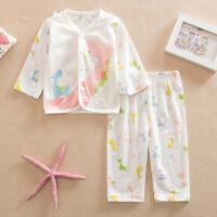夏季婴儿内衣套装夏天透气孔套装宝宝长袖内衣套装空调房衣服