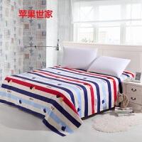 床单单件大嘴卡通猴纯棉双人单人被单子1.5米1.8m2.0m宿舍全棉 玫红色 苹果世家