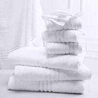 酒店浴巾毛巾方巾三件套家用柔软纯棉男女吸水洗脸加大厚白色