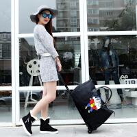 旅行包女手提拉杆韩版大容量短途旅游叠防水轻便蜡笔小新行李袋