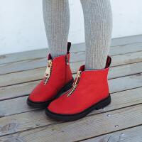 女童靴子2018秋季新款儿童英伦风马丁靴男童加绒雪地靴小女孩短靴