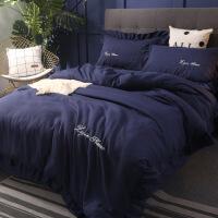 新品秒杀冬季加厚保暖全棉4四件套纯色简约纯棉磨毛被套床单床笠床上用品