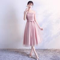 伴娘礼服短款2018新款韩版春季 伴娘服姐妹裙中长款 毕业小礼服女