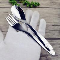 W 旅行学生餐具创意可爱小孩儿童吃饭勺子叉子304不锈钢勺叉卡通勺B31