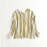 新女长袖雪纺衫 V领条纹宽松韩版显瘦清新打底衬衫26B