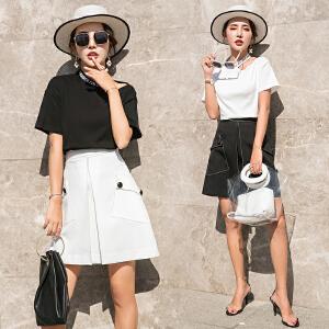 风轩衣度 韩版修身显瘦中长款纯色淑女套装/套裙2018年夏季百搭短袖 2505-863