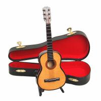 ?迷你古典吉他模型创意摆件迷你乐器模型吉他盒娃娃饰品道具