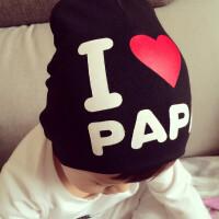 婴儿帽子春秋夏季新生儿宝宝帽子我爱爸妈男女0-3个6月幼儿套头帽