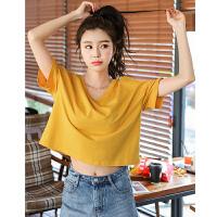 韩都衣舍2019夏装新款韩版女装上衣宽松V领短款短袖T恤JZ11224钕