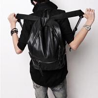 韩版休闲旅行双肩包书包学生牛皮电脑包男士运动背包时尚男包潮包 黑色