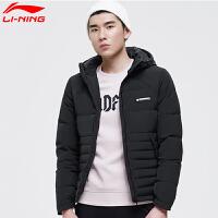 李宁短羽绒服男子BAD FIVE篮球冬季防泼水保暖修身连帽运动外套
