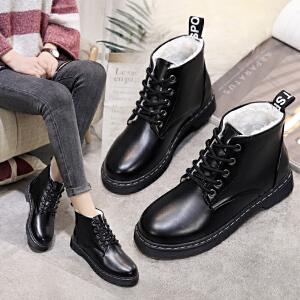 女式 秋冬新款马丁靴加绒系带平跟保暖短靴英伦风女靴