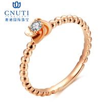CNUTI粤通国际珠宝 18K金镶嵌 花语钻石戒指 钻石女戒