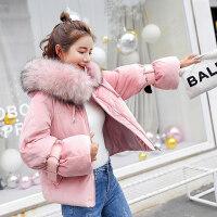 短款棉衣金丝绒外套女2018冬季保暖加厚羽绒毛领棉袄外套