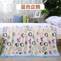 婴儿毛毯单层薄款珊瑚绒毯新生儿小毯子儿童盖毯宝宝盖肚子小被子 蓝色企鹅 100X130(拍两条立减)