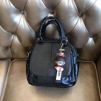 时尚休闲女包新款软面韩版双层多用包单肩斜挎包百搭手提包包 黑色