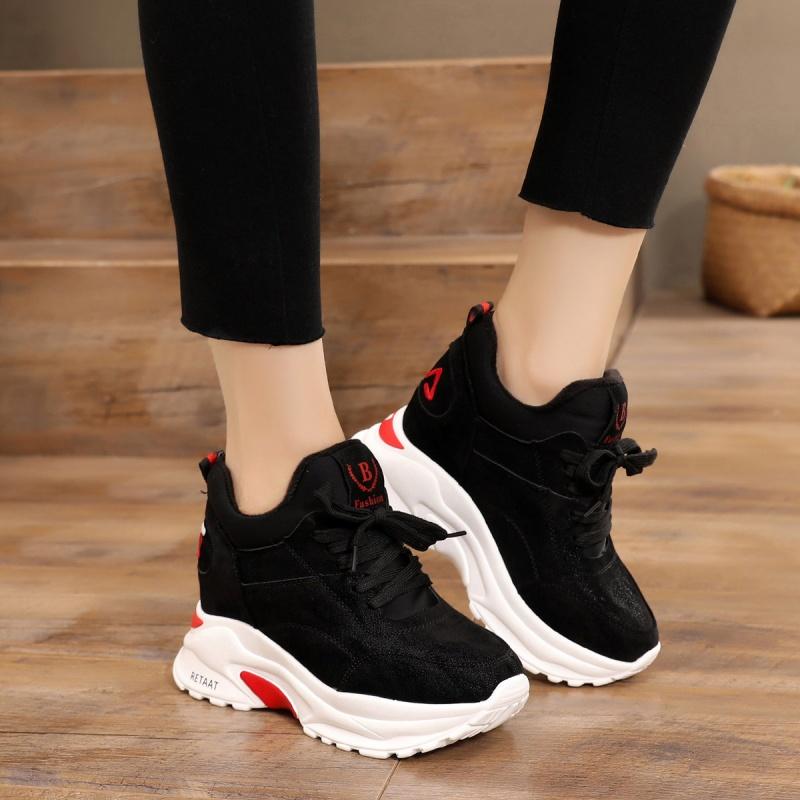 2018秋冬季新款厚底内增高女鞋韩版黑色百搭运动鞋加绒冬学生鞋女   走进大自然的怀抱,美丽从这里起步。