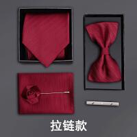 男士正装领带结婚新郎领结方巾酒红暗纹五件套礼盒装