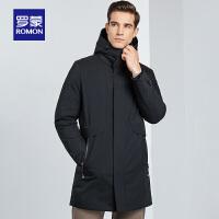 罗蒙男羽绒服冬季新品时尚休闲中长款连帽外套中青年保暖修身上衣