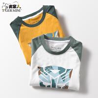 【3件2折:41.8元】小虎宝儿童装男童纯棉长袖T恤打底衫中大儿童2021春装款变形金刚授权