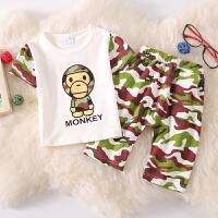 儿童迷彩服套装夏男童短袖夏装宝宝迷彩军装幼儿园班服军训服童装